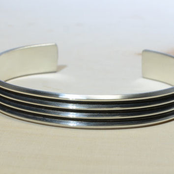 Modern Cuff Bracelet with Grooves in Sterling Silver