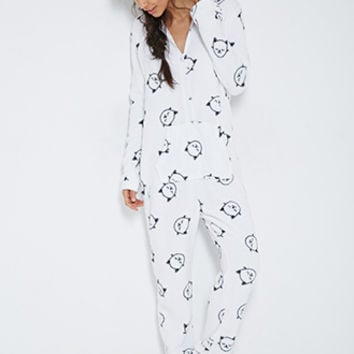 FOREVER 21 Cat Graphic Sleep Romper Cream/Black