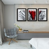 Set of 3 Modern Art, Red and White Print, Abstract Print Set, Print set, Abstract Wall Art, Living Room Decor, Home Decor, Wall Art Gift
