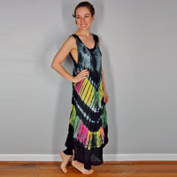 Tye Dye Summer Dress, Boho Gypsy Hippie A Line Dress