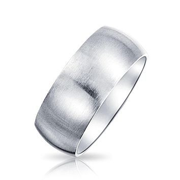 Wide Brushed Matt Couples Wedding Band Rings Stainless Steel 8mm