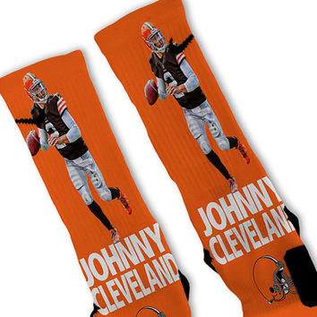 Johnny Money Manziel Custom Nike Elite Socks Fast Shipping!! Nike Elite Socks Customized Cleveland Browns