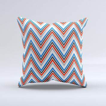 Red-White-Blue Sharp Chevron Pattern Ink-Fuzed Decorative Throw Pillow