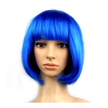 Women's Sexy Short Bob Cut Fancy Dress Wigs Play Costume Ladies Full Wig Party  Sapphire blue