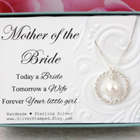 Gift for Mother of the Bride gift from bride Sterling silver pearl necklace Forever your little girl, bridal party gift for mom from bride
