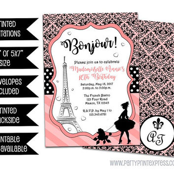Paris Invitations - Paris Birthday Invitation - Pink Black Damask French Poodle Invitation - Paris Engagement Party - Eiffel Tower - Girl