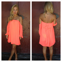 Neon Pink Bow Back Off Shoulder Dress