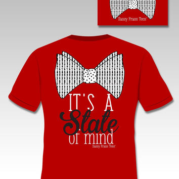 Sassy Frass Tees It's a State of Mind Bow Red Comfort Colors Southern Girlie Bright T Shirt