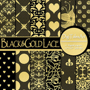 "Wedding floral damask digital paper ""Black&Gold Lace"", scrapbooking, flowers damask background, lace patterns, invitations, cards, collage"