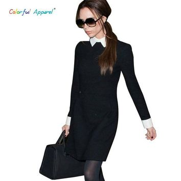 DCCKHY9 [C-377] 2013 Fashion Star Style Victoria Beckham Dress Slim Elegant Turn-down Collar Long Sleeve Black Dresses for Women