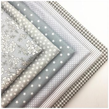 Gray flower dot Stripe Cotton Fabric Diy Sewing Patchwork Quilting Doll Cloth Handmade Needlework Material Telas to Patchwork