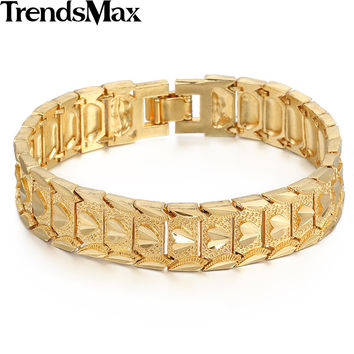 Trendsmax Romantic Womens Girls Ladies Frosted Cut Heart Love Link Yellow Gold Filled Bracelet Bangle 14mm Wide 20cm GB389
