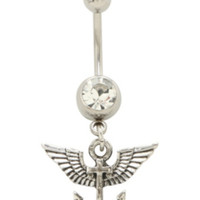 """14G 7/16"""" Steel Winged Anchor Navel Barbell"""