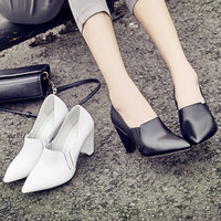 Summer Leather Pointed Toe Wedge Stylish Simple Design High Heel Shoes [6050212993]