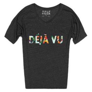 Deja Vu (Floral Dream)-Female Heather Onyx T-Shirt