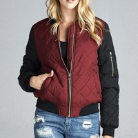 Contrast Quilted Bomber Padding Jacket (Burgandy)