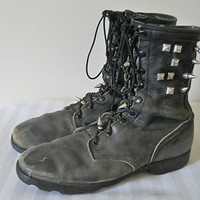 Studded Military Boots Black Vintage Leather 12 Combat Army Mens Motorcycle Punk