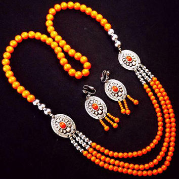 Concho Necklace Earring Set Orange & Silver Beads South Western Boho Vintage