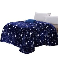 Galaxy Blanket blue flannel Fleece Plaid sofa Throws blanket