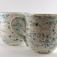 Large Handmade Ceramic Mugs - White Confetti Set of 2 by RiverRockArtsMD on Etsy