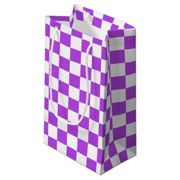 Purple and White Checkerboard Pattern Small Gift Bag