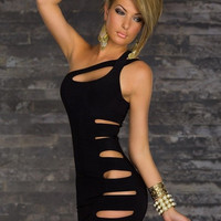 Sexy Club Wear Dresses New Fashion Bandage Bodycon Dress Black Mini Party Cute novelty Dress For Women = 5698586497