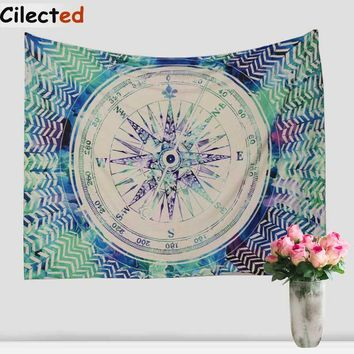 Cilected Compass Printed Tapestry Wall Hanging Cotton Indian Bedspreads Hippie Beach Throw Wall Tapestries 203X153cm