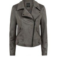 Dark Grey Suedette Biker Jacket | New Look