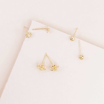 All Is Golden Floral Stud Set