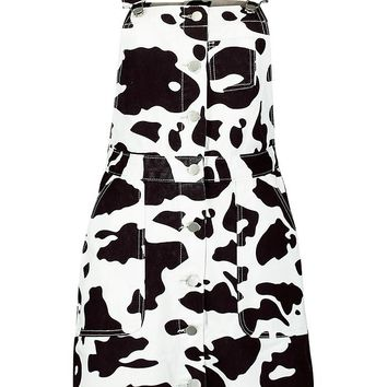 Tahlia Cow Print Pinafore Dress | Boohoo