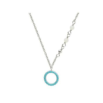 "Nano Aqua Eternity Circle Necklace in Rhodium Plated Sterling Silver, 15.5"" + 2"" Extender"