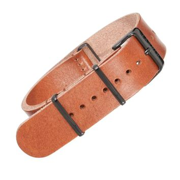 22mm Brown Leather NATO - Black Buckle
