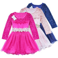 one piece beautiful girl's kids dress Children's Girls long sleeve Tulle party Dress Kids Clothing Princess Mini Dresses = 1958424388