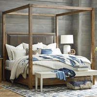Woodhaven Queen Leather Poster Bed
