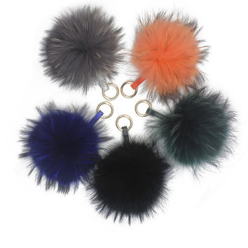 LUX FAUX POM KEY CHAINS