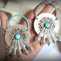 Madala ear weights-Tribal ear weights-handmade ear weights-guage earring-large ear weights-miao silver earring-turquoise ear weights