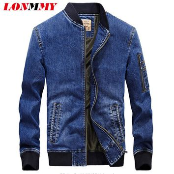 LONMMY M-4XL Military style jeans jacket men Cotton Overcoat Army Casual Denim jacket men coat Brand-clothing 2017 Mens coats