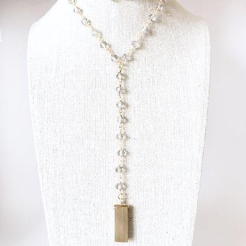 Rosary Chain Lariat Necklace - Smoky Crystals + Brass Accent Piece