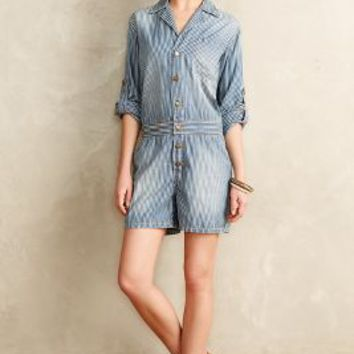 Current/Elliott Mechanic Romper Whereabout Stripe