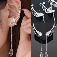1 Pair Angel Wing Stylist Crystal Silver Plated Earrings Drop Dangle Ear Stud Cuff Clip