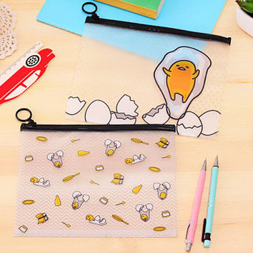 Kawaii Gudetama Zip Bag, Cute Pouch, Folder with zipper