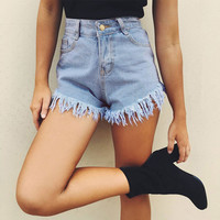High Waist Denim Sea Vacation Casual Pants Shorts [9818995597]