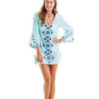 Mud Pie Summer Collection Small Safia Embroidered Tunic Cover-Up - Pale Pacific Blue