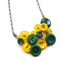 Green and Gold Yellow Necklace made from Vintage Buttons - Packers Fan Jewelry