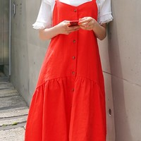 Bro Tea Linen Button Bustier Dress