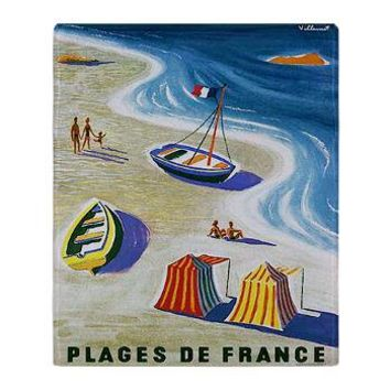Vintage French Beach Travel Poster Throw Blanket> Korpita Art Blanket Throws> Rebecca Korpita Coastal Design