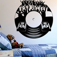 Dj Crowd Turntable Music Art Decal Sticker Wall Vinyl