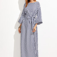 Navy and White Stripe Boat Neck Roll Cuff Maxi Dress