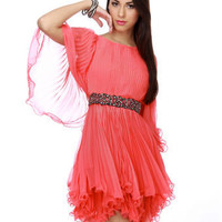 Coral Pink Dress - Ruffle Dress - Pleated Dress - $82.00