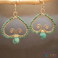"Hammered swirly drops wrapped with your choice of green turquoise or blue turquoise, 1-1/2"" Earring Gold Or Silver"
